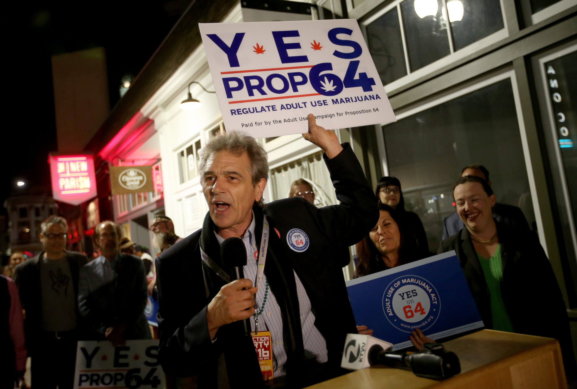 Chris Conrad, with Friends of Prop 64, speaks as people celebrate during a Proposition 64 election night party at the New Parish nightclub in Oakland, Calif., on Tuesday, Nov. 8, 2016. The proposition legalized the recreational use of marijuana in the state. (Jane Tyska/Bay Area News Group)
