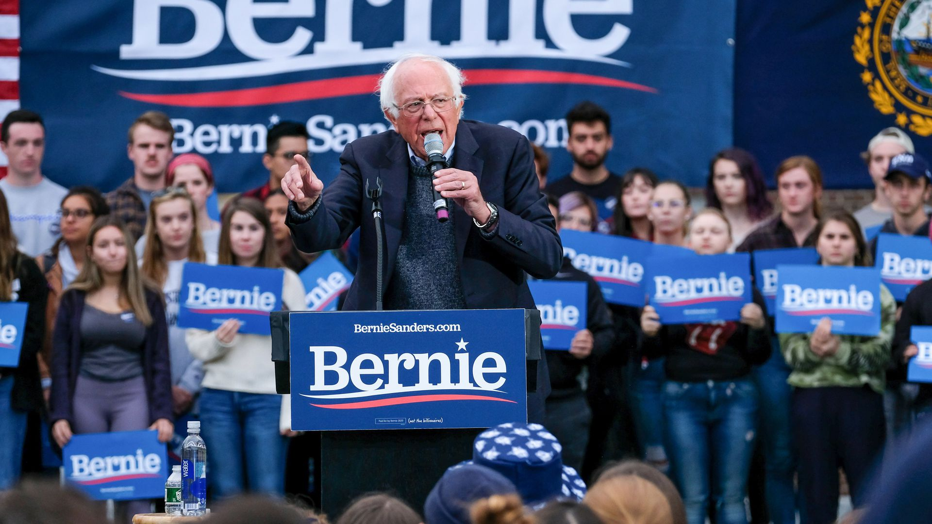 Vermont senator and presidential candidate Bernie Sanders campaigns at the University of New Hampshire in Durham. (Photo by Preston Ehrler/SOPA Images/LightRocket via Getty Images)